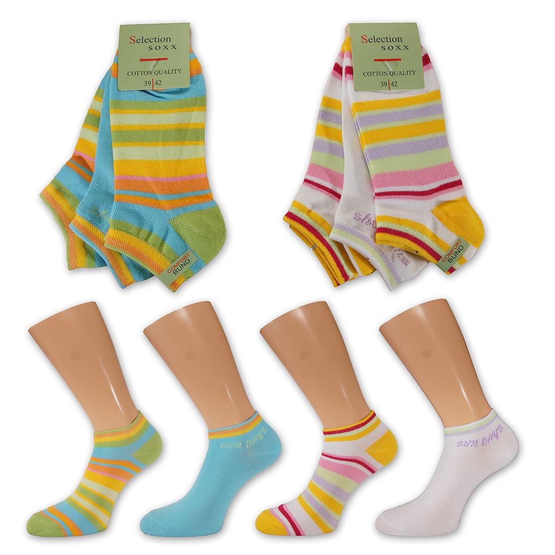 12-Paar-Bunte-Damen-Sneaker-Socken-mit-Ringel-Fuesslinge-Baumwolle-Piquerand